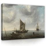 Rijksmuseum Canvas Schepen voor Anker op kalme Zee RMC30_