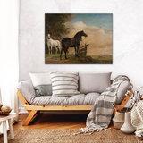 Rijksmuseum Canvas Twee paarden in de wei bij een hek RMC67_