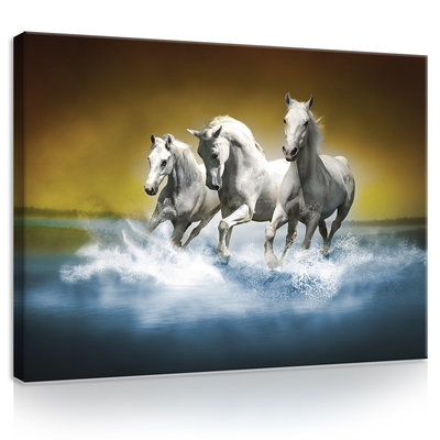 White Horses Galloping on Water Canvas Schilderij PP20300O1