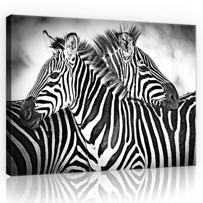 Zebra Black-White Canvas Schilderij PP10159O1