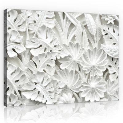 Alabaster Flowers Relief Canvas Schilderij PP10052O1