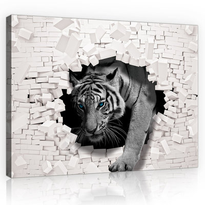 3D Tiger Coming out the Wall Canvas Schilderij PP10400O1