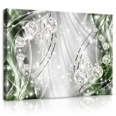 Abstract, Diamonds, Silver and Emerald Canvas Schilderij PP10405O1