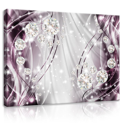 Abstract, Diamonds, Silver and Violet Canvas Schilderij PP10404O1