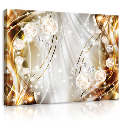 Abstract, Diamonds, Silver and Gold Canvas Schilderij PP10403O1