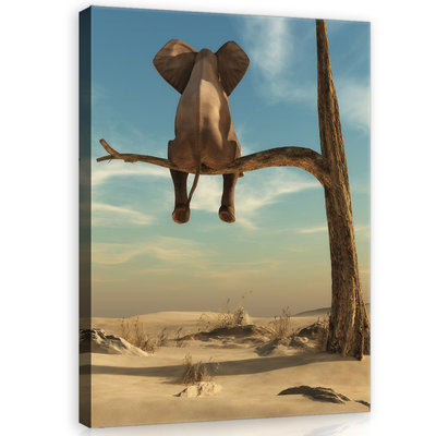 Elephant on the tree Canvas Schilderij PP11898O1