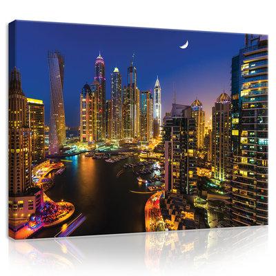 Dubai Skyscrapers at Night Canvas Schilderij PP20077O1