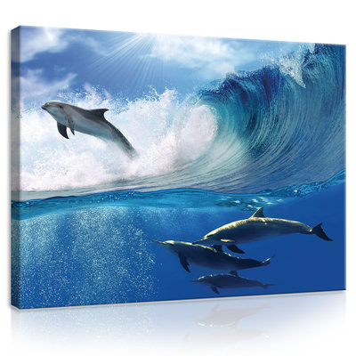 Dolphins Jumping on Waves Canvas Schilderij PP20311O1