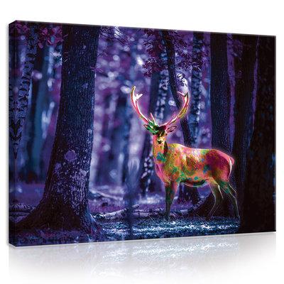 Fluorescent Deer Canvas Schilderij PP20296O1