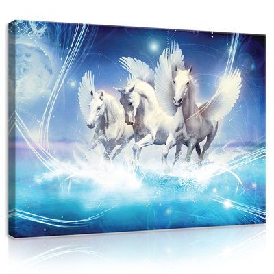 Pegasus on Blue Background Canvas Schilderij PP20289O1