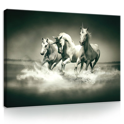 Unicorns Galloping on Water Canvas Schilderij PP20281O1