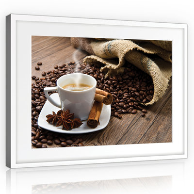 Coffee Beans and Cup Canvas Schilderij PP10918O1