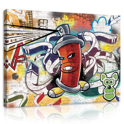 Red Graffiti Spray Paint Can Canvas Schilderij PP20212O1