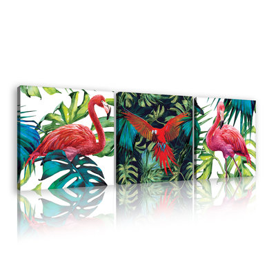 Parrots and flamingos Canvas Schilderij PS11104S13