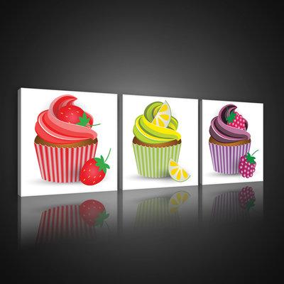 Colourful Cupcakes Canvas Schilderij PS10553S13