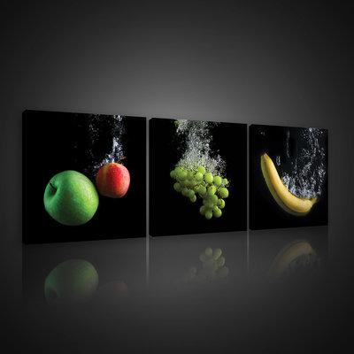 Apple-Grapes-Banana Canvas Schilderij PS10548S13