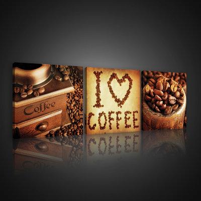 I Love Coffee Collage Canvas Schilderij PS10527S13