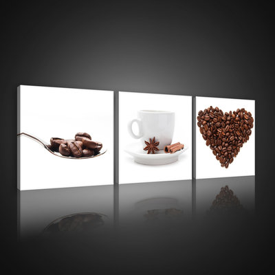 Coffe Beans and Cup Canvas Schilderij PS10525S13