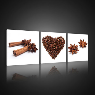 Coffee Beans and Spices Canvas Schilderij PS10524S13