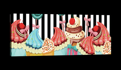 Pin Up Cupcakes Canvas Schilderij PP20230O3