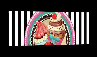 Pin Up Cupcakes Canvas Schilderij PP20223O3