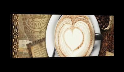 Coffee Foam Heart Canvas Schilderij PP20220O3