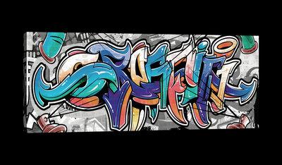 Colourful Graffiti on Gray Canvas Schilderij PP20206O3