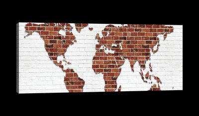 World Map on Brick Wall Canvas Schilderij PP20268O3