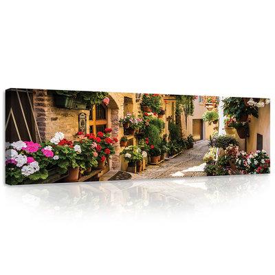Street with flowers Canvas Schilderij PP20527O3