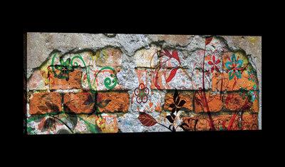 Painted Flowers on Brickwall Canvas Schilderij PP20138O3