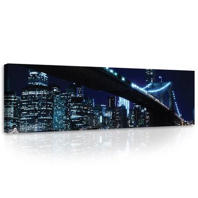 The City and the Bridge at Night Canvas Schilderij PP10328O3