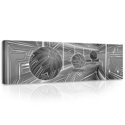 3D Gray Tunnel with Spheres Canvas Schilderij PP10079O3