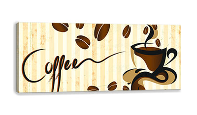 Cup of Coffe and Coffee Beans Canvas Schilderij PP10001O3
