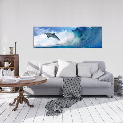 Dolphins Jumping on Waves Canvas Schilderij PP20311O3
