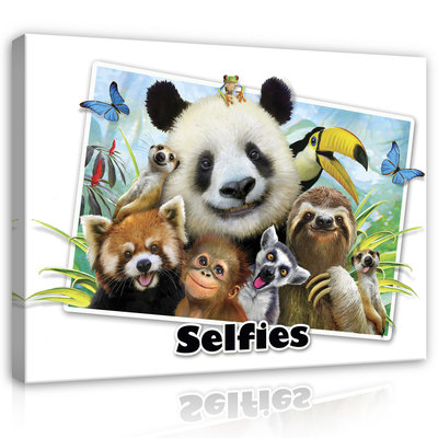 Dieren Selfies Canvas Schilderij PP12815O1