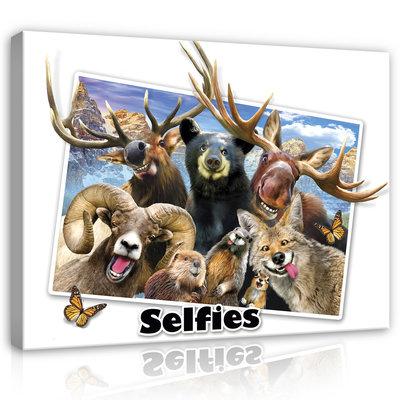 Dieren Selfies Canvas Schilderij PP12813O1