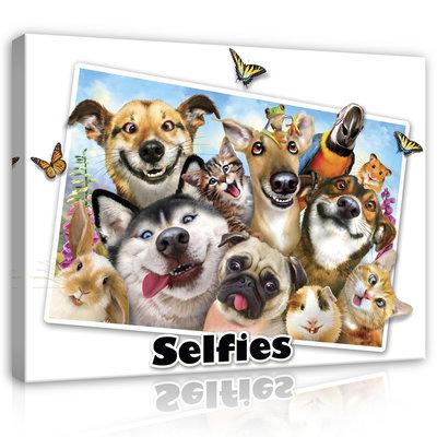 Dieren Selfies Canvas Schilderij PP12812O1