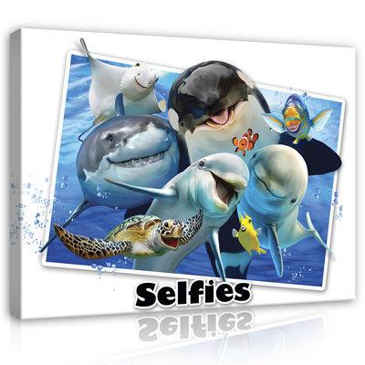 Dieren Selfies Canvas Schilderij PP12811O1