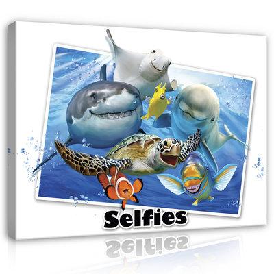 Dieren Selfies Canvas Schilderij PP12810O1
