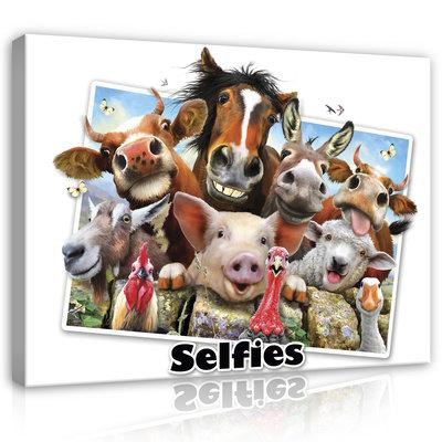 Dieren Selfies Canvas Schilderij PP12808O1