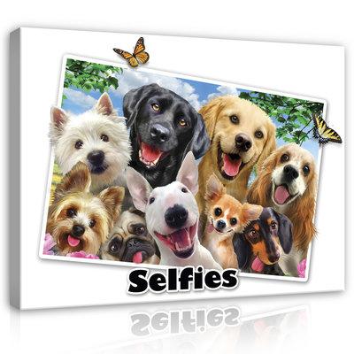 Dieren Selfies Canvas Schilderij PP12807O1