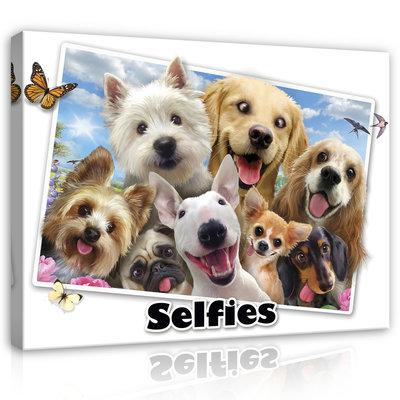 Dieren Selfies Canvas Schilderij PP12806O1