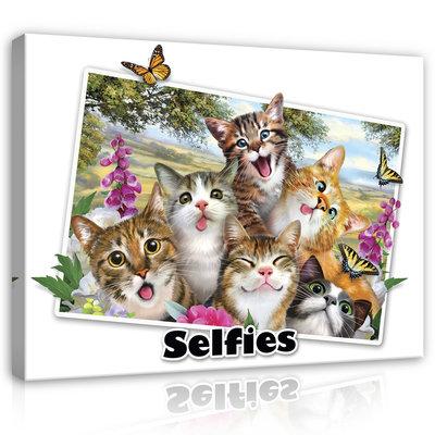 Dieren Selfies Canvas Schilderij PP12805O1