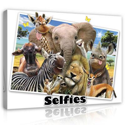 Dieren Selfies Canvas Schilderij PP12804O1