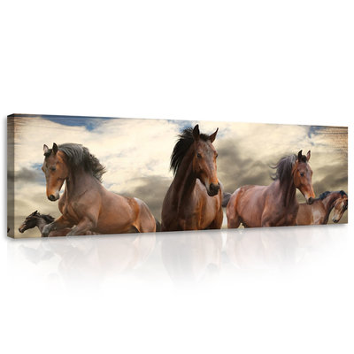 Galloping Horses on Wooden Planks Canvas Schilderij PP10083O3