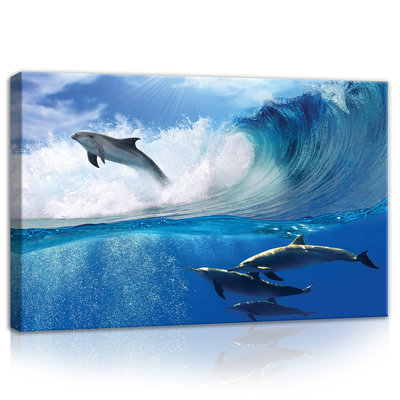 Dolphins Jumping on Waves Canvas Schilderij PP20311O4