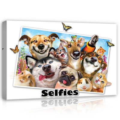 Animals- Selfies Canvas Schilderij PP12812O4