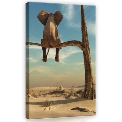 Elephant on the tree Canvas Schilderij PP11898O4