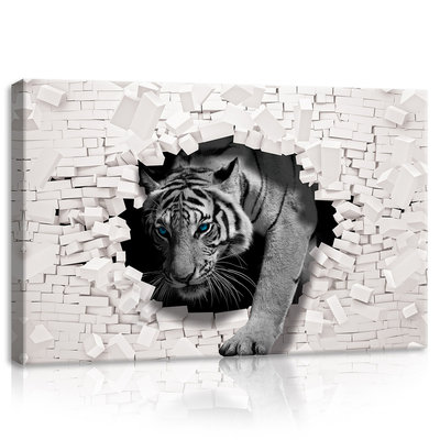 3D Tiger Coming out the Wall Canvas Schilderij PP10400O4