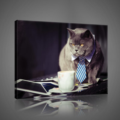 Black Businessman Cat  Canvas Schilderij PP10397O4
